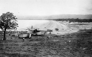 StateLibQld 1 126935 Landing of aeroplane on Four Mile Beach, Port Douglas, ca. 1933.jpg