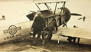 Stearman M-2 Speedmail - Varney Air Lines M-2 after accident exposing mail compartment
