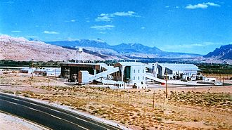 Moab, Utah - Charles Steen's Uranium Reduction Co. Mill, Moab, circa 1960s. Later known as the Atlas Mill, it closed in 1984.