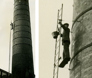 Steeplejack - Image: Steeplejack on a chimney in 1960 arp