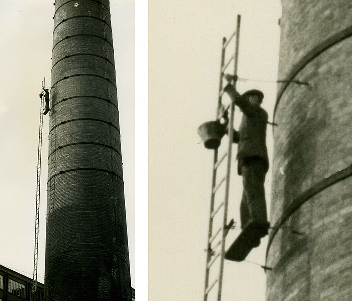 File:Steeplejack on a chimney in 1960 arp.jpg