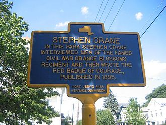 The Red Badge of Courage - Historical marker in Port Jervis, New York, commemorating Crane