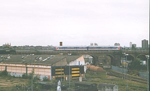 Stewarts Lane - The depot in 1998. The steam shed was situated in front of the viaduct.