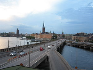 Centralbron - Centralbron viewed from Södermalm. In the background from left to right: Stockholm City Hall, Riddarholmen, and Gamla stan.