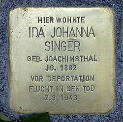 Photo of Ida Singer brass plaque