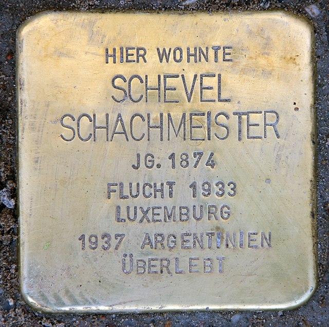 Photo of Schevel Schachmeister brass plaque