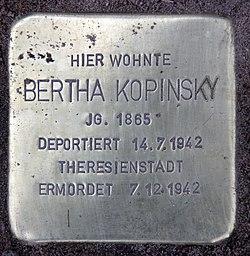 Photo of Bertha Kopinsky brass plaque