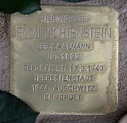 Photo of Emmi Lichtenstein brass plaque