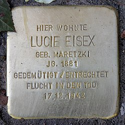 Photo of Lucie Eisex brass plaque