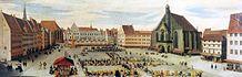 """""""Der Markt zu Nürnberg"""" von Lorenz Strauch (1594). Die Börse befand sich im Nordwesten (links oben)."""