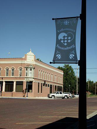 Stromsburg, Nebraska - Stromsburg brick street and Valkommen sign