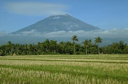 Mount Sumbing surrounded by rice fields. Java's volcanic topography and rich agricultural lands are the fundamental factors in its history. Sumbing, Java.jpg