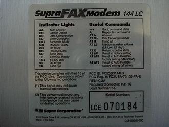 SupraFAXModem 14400 - Sticker on bottom of SupraFAXmodem 144 LC modem