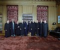 Supreme Court Justices pose with President Ronald Reagan in the Supreme Court Conference Room.jpg