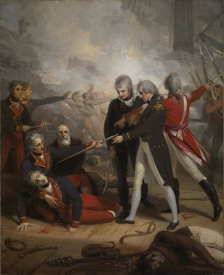 Nelson receives the surrender of the San Nicholas, an 1806 portrait by Richard Westall Surrender of the San Nicolas at St Vincent.jpg