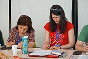Susanna and Gabriela at Wikipedia Education Collaborative meeting in Yerevan, June 2017.jpg