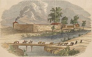 History of Sacramento, California - A depiction of Sutter's Fort, as it had appeared in the 1840s.