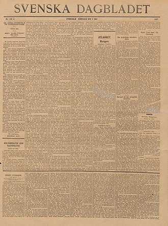 Svenska Dagbladet - Svenska Dagbladet, Sunday, May 2, 1897. The first number under new management, new form and new header. The first page contains signed contributions by Helmer Key (1864-1939), Gustaf F. Steffen (1864-1929) and Oscar Levertin (1862-1906).