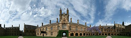 The University of Sydney is Australia's oldest university. SydneyUniversity MainQuadrangle panorama 270.jpg