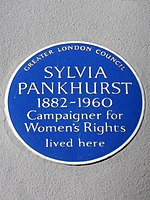 Sylvia Pankhurst 1882-1960 Campaigner for Women's Rights lived here.jpg