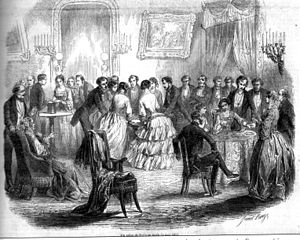 Ideomotor phenomenon - An example of table-turning in 19th century France. A circle of participants press their hands against a table, and the ideomotor effect causes the table to tilt in such a way as to produce a written message, in a manner similar to a ouija board.