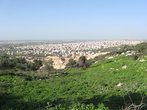 Triangle (Israel) - A view of Tayibe, the largest city of the Southern Triangle.