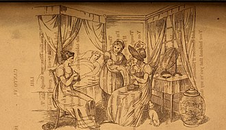 "Caudle - Richard Dagley's illustration ""Taking caudle"" of Thomas Gaspey's poem. The new mother reclines in a four-poster bed, recouping her energy. A member of the household sits at the foot of the bed, entertaining a visitor, who keeps her bonnet on; both of them are drinking caudle. A maidservant shows the baby to the visitor, while a dog and cat look on."