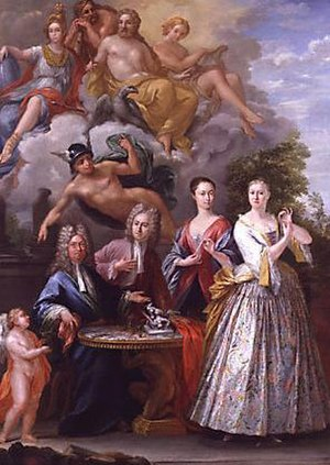 John Talman - John Talman, in the centre between his father William (seated, far left) and his sister Frances and his mother Hannah (right), by Giuseppe Grisoni, c.1718–19  (NPG)
