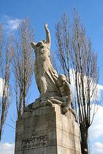 Monument érigé à Tamines, rappel du massacre de Tamines.