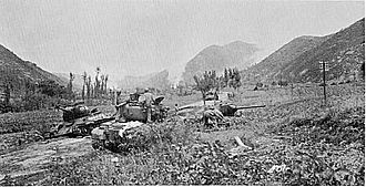 Battle of Hwanggan - Tanks of the 27th Infantry advance into the Bowling Alley, August 21.