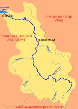 Бассейн реки таз с притоками