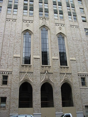 McAllister Tower Apartments - Image: Temple Methodist Episcopal Church entrance