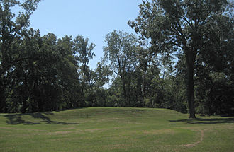 Grand Village of the Natchez - View of Temple Mound from the main plaza