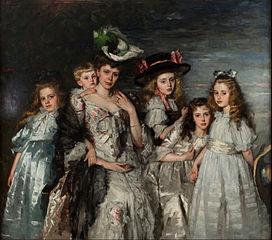 Portretgroep van mevr. A.G.M. van Ogtrop-Hanlo (1871-1944) met haar vijf kinderen