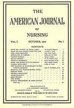 Copertina del primo numero dell'American Journal of Nursing, pubblicato nell'ottobre 1900.