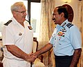 The Chief of Naval Staff, French Navy, Admiral Bernard Rogel calling on the Chief of the Air Staff, Air Chief Marshal Arup Raha, in New Delhi on November 14, 2014.jpg