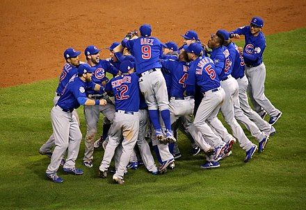 Chicago Cubs celebrate their 2016 World Series victory The Cubs celebrate after winning the 2016 World Series. (30658637601).jpg