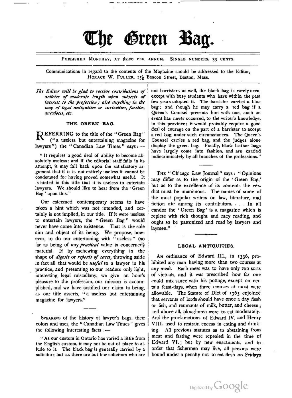 Page:The Green Bag (1889–1914), Volume 01 pdf/302
