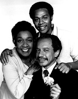 Publiciteitsfoto van Isabel Sanford, Sherman Hemsley en Mike Evans voor The Jeffersons