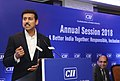 The Minister of State for Youth Affairs and Sports (IC) and Information & Broadcasting, Col. Rajyavardhan Singh Rathore addressing the Session on Business of Sports, organised by the CII, in New Delhi on April 08, 2018.jpg