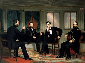 "Painting of four men conferring in a ship's cabin, entitled ""The Peacemakers""."