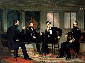 """Schilderij van vier mannen die overleggen in een scheepscabine, getiteld """"The Peacemakers""""."""