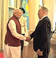 The Prime Minister, Shri Narendra Modi being received by the President of the Republic of Kazakhstan, Mr. Nursultan Nazarbayev, at Akorda Palace, Kazakhstan on July 08, 2015.jpg