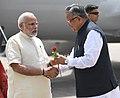 The Prime Minister, Shri Narendra Modi being welcomed by the Chief Minister of Chhattisgarh, Dr. Raman Singh, on his arrival, at Naya Raipur, Chhattisgarh on June 14, 2018.JPG