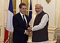 The Prime Minister, Shri Narendra Modi meeting the Former President of France, Mr. Nicolas Sarkozy, in Paris on April 11, 2015.jpg