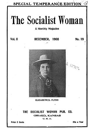 The Socialist Woman - Cover page featuring Elizabeth Gurley Flynn, December 1908.