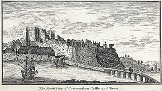 The South View of Caermarthen Castle and Town