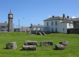 St Just in Penwith - Plen an Gwarry, common green near the clock tower in the centre of St Just