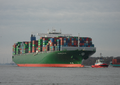 The new container vessel Thalassa Hellas approaches the Port of Hamburg.png