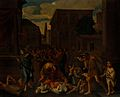 The plague of the Philistines at Ashdod. Oil painting after Wellcome V0017191.jpg